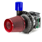 Variable-output 24V electric supercharger, includes a BLDC Duryea motor and electronics with a centrifugal blower