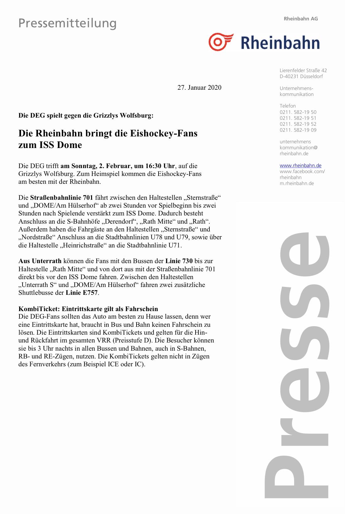 Die DEG vs. Grizzlys Wolfsburg – Die Rheinbahn bringt die Eishockey-Fans zum ISS Dome