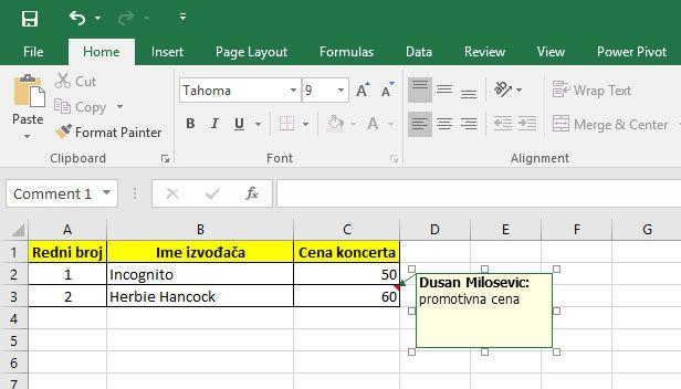 Office Excel komentar u celiji
