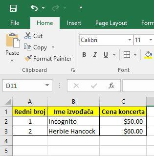 Office Excel kako pretvoriti u novcanu jedinicu