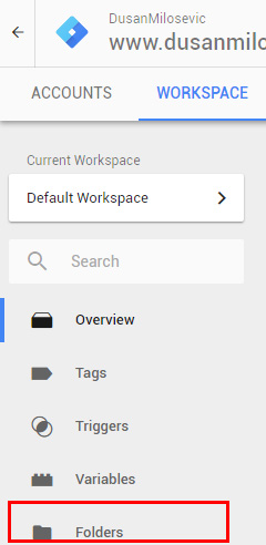 google tag manager gtm folders