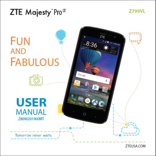 ZTE Majesty Pro LTE Z799VL Specs, User guide - Download User Manual