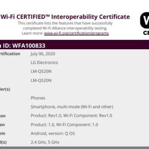 Possible LG Q52 (LM-Q520N) smartphone appears on WiFi Alliance certification