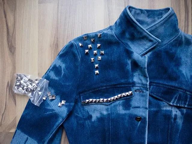 Itajime shibori tie-dye Bleached Studded Denim Jacket DIY Studding