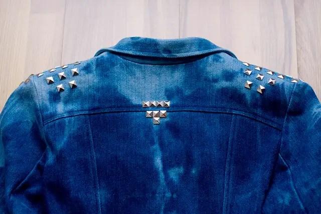 Itajime Shibori Reversed Tie Dye Bleached Studded Denim Jacket DIY Result