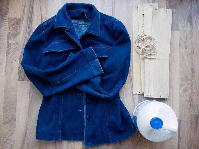 Itajime shibori tie-dye Bleached Studded Denim Jacket DIY Supplies