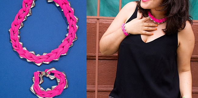 DIY: Chain Set With Pink Crochet Cord