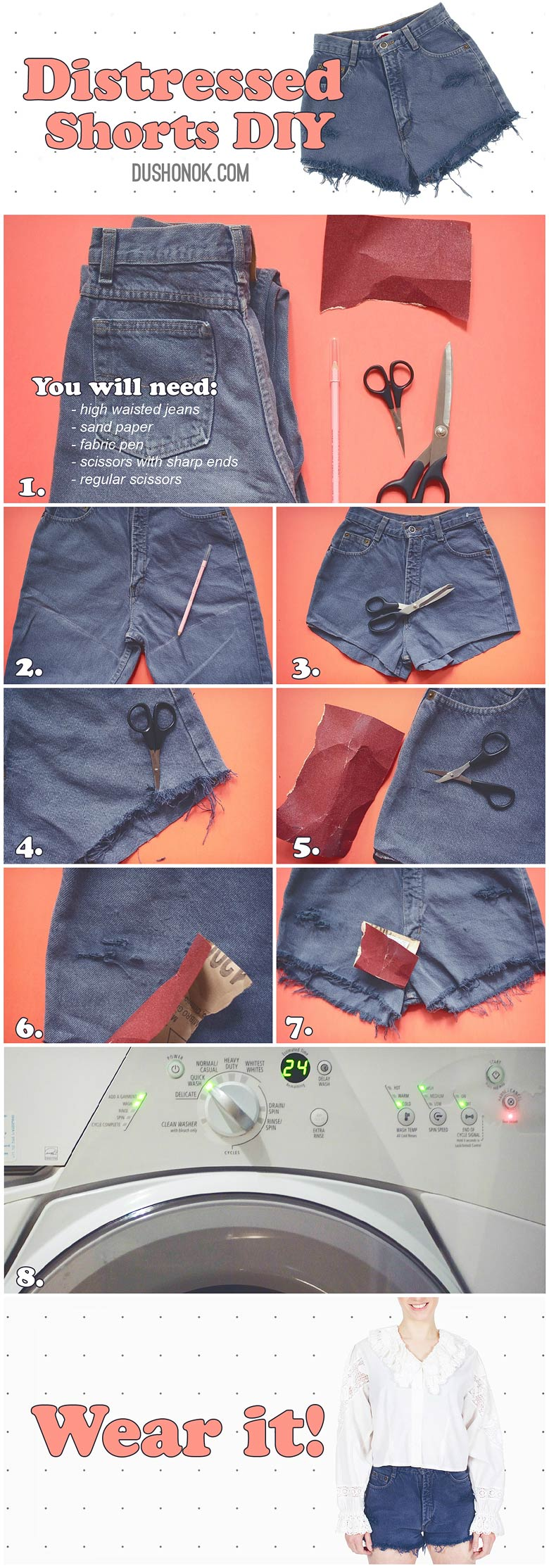 distressed denim cut off high waisted shorts diy: making summer