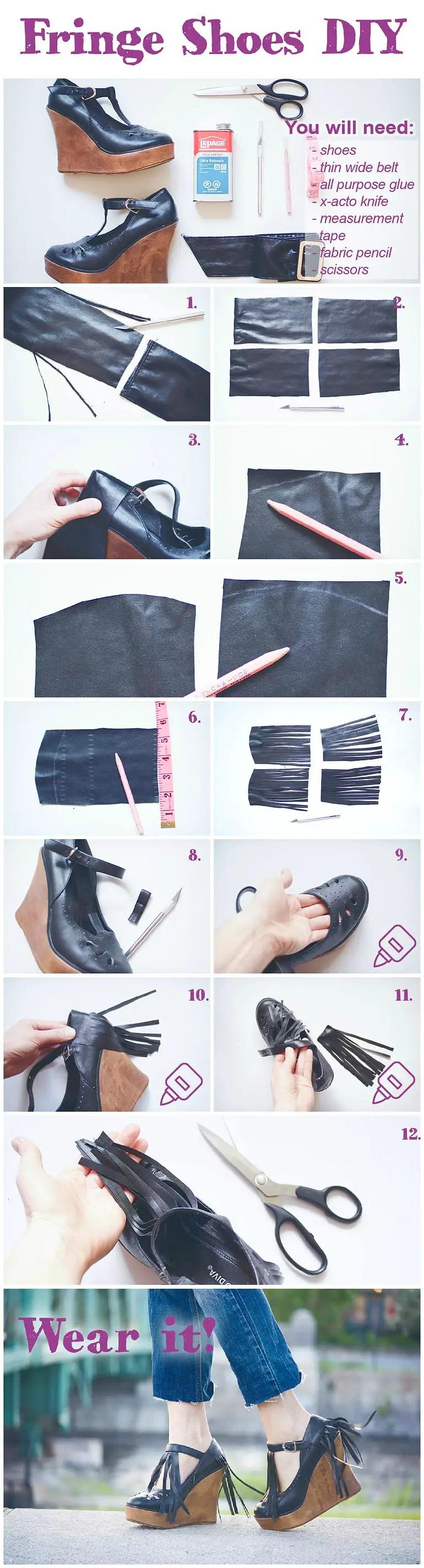 Fringe Shoes DIY Instructions
