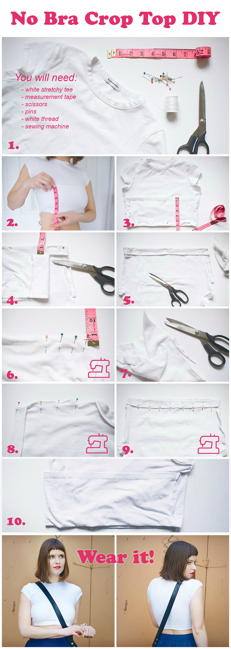 No Bra Crop Top DIY Steps