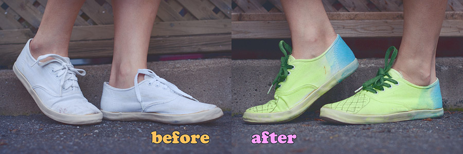 Pineapple Shoes DIY Before After