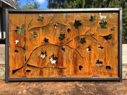 Corten steel Maple leaves CNC laser cut screen trimmed in metal for a seamless look. Hamilton, Ontario