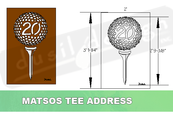 Golf Tee Custom Address in Corten Steel