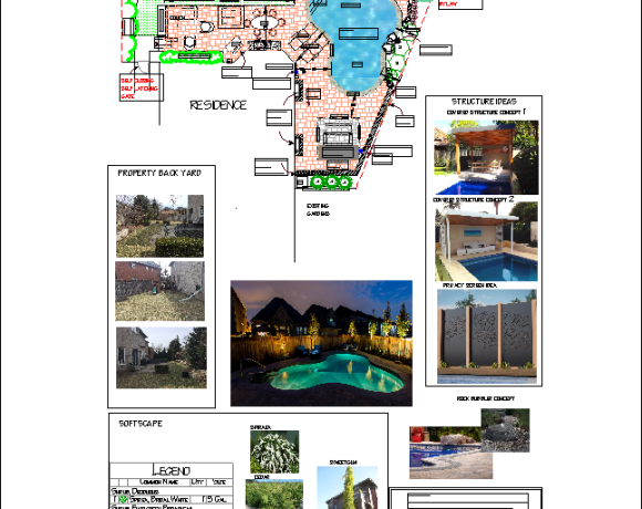 Landscape Design Pie Shaped Backyard with Pool