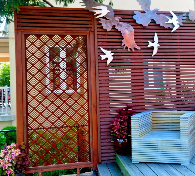 Corten Steel Patterned Screen on Fence