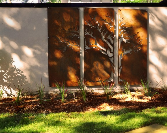 Corten Steel Screen on Garage Wall