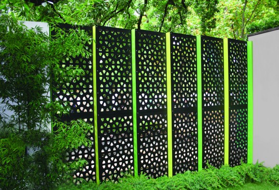 Metal Screen as Panels to break up a brick wall or wooden fence