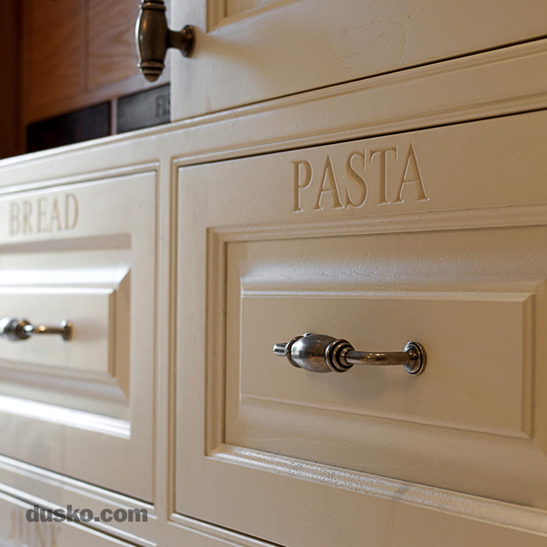Colonial Style Kitchen in Prestbury, Cheshire Engraved drawer fronts
