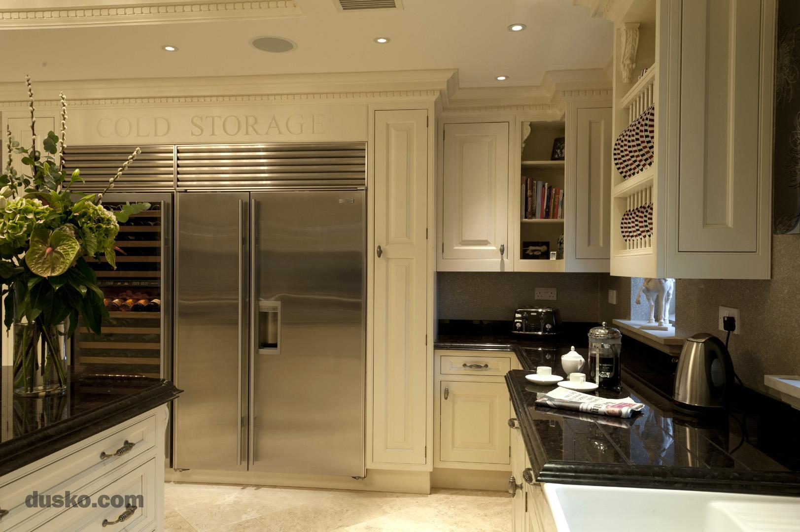 Colonial Style Kitchen in Prestbury, Cheshire Sub Zero Fridge Freezer and Wine Cooler