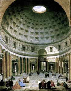 Pantheon Interior – Painted by Giovanni Paolo Panini. This work is in the public domain in the United States, and those countries with a copyright term of life of the author plus 100 years or less.