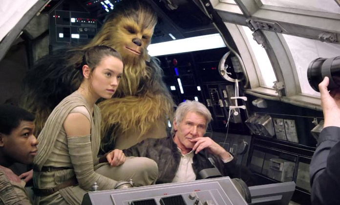 Rey, Finn, Han Solo ve Chewbacca