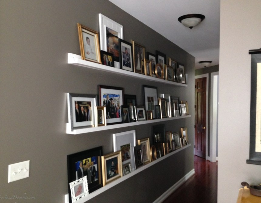 DIY photo ledges, DIY photo shelves, $8 dollar ledges, gallery wall, decorating a long hallway, Valspar Seine