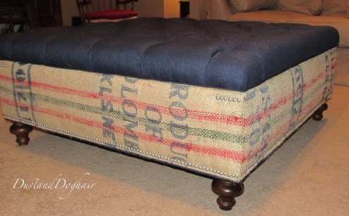 up cycled coffee sacks Storage Ottoman with Tufted Top coffee bags nailhead trim Storage bun feet