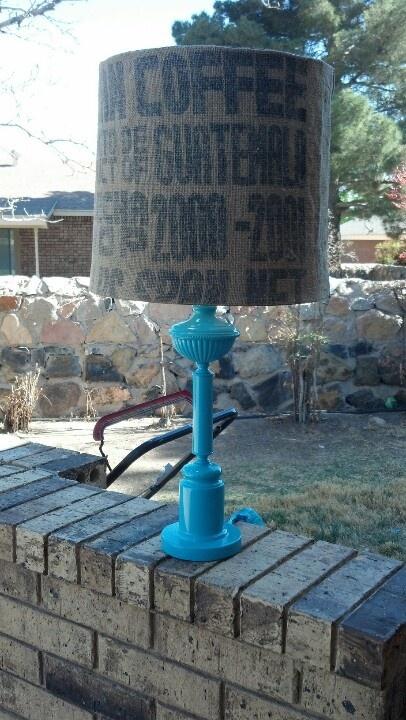 dd coffee sack lampshade Lori Holuta