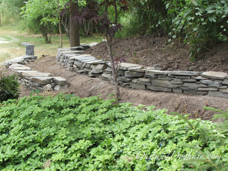 Diy Stacked Stone Retaining Wall Part, How To Build A Stacked Stone Garden Border