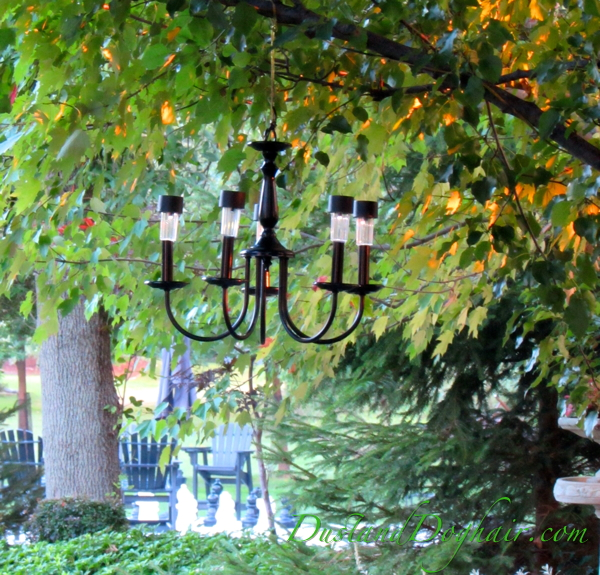 Hang your solar chandelier from tree branches