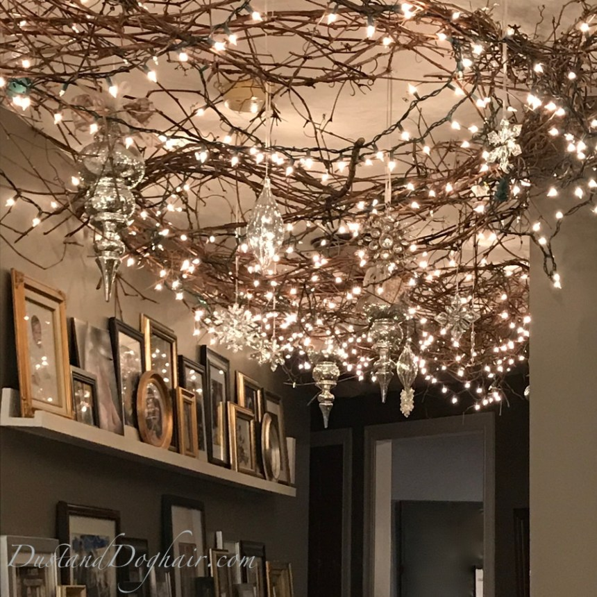 decorated ceiling, magical decorations, christmas decorations, string lights, command strips, mercury ornaments