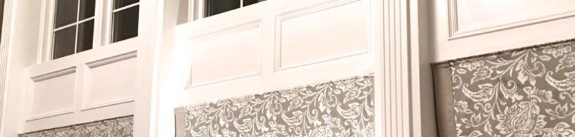 two-story window treatments, custom roman shades, mushroom gray, grey in family room