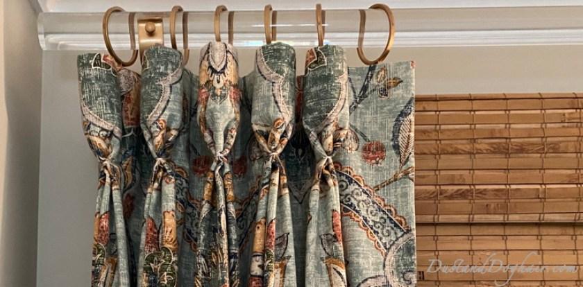 acrylic curtain rods, DIY curtain rods, goblet pleats, custom window treatments, bamboo shades