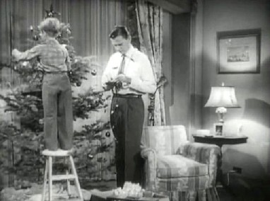 Carl and Timmy decorating the tree