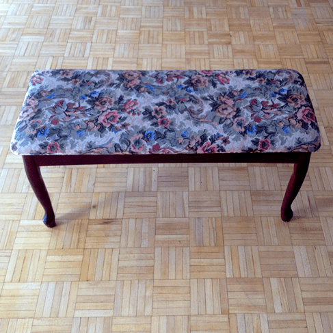 The bench: a little worn, a little loose, and super hideous fabric.