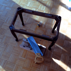 Here is the frame for the shortened bench! Good as new!