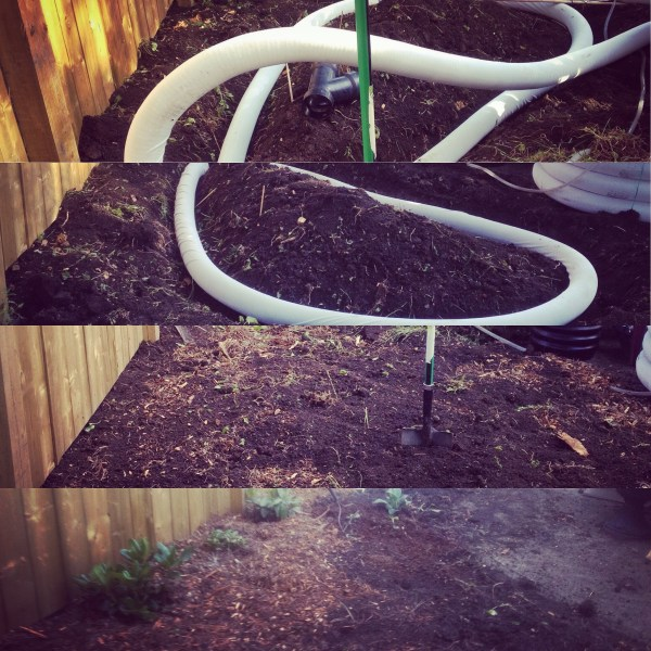 Step To Build A Water Harvesting Swale: Water harvesting urban swale buried beneath the garden beds brings water to where you need it most. 1) Dig level trench 2) lay in perforated pipe 3) mulch over pipe and level trench, 4) plant.