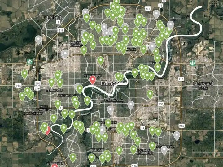 Map of Edmonton utility lots for gardening and urban agriculture.