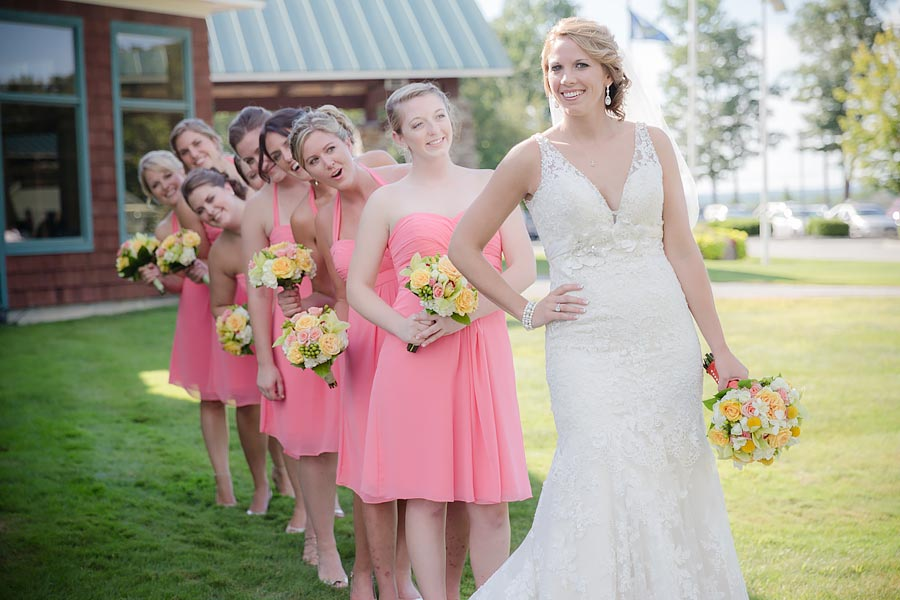 wedding bridal coral pink bridesmaids dress dresses