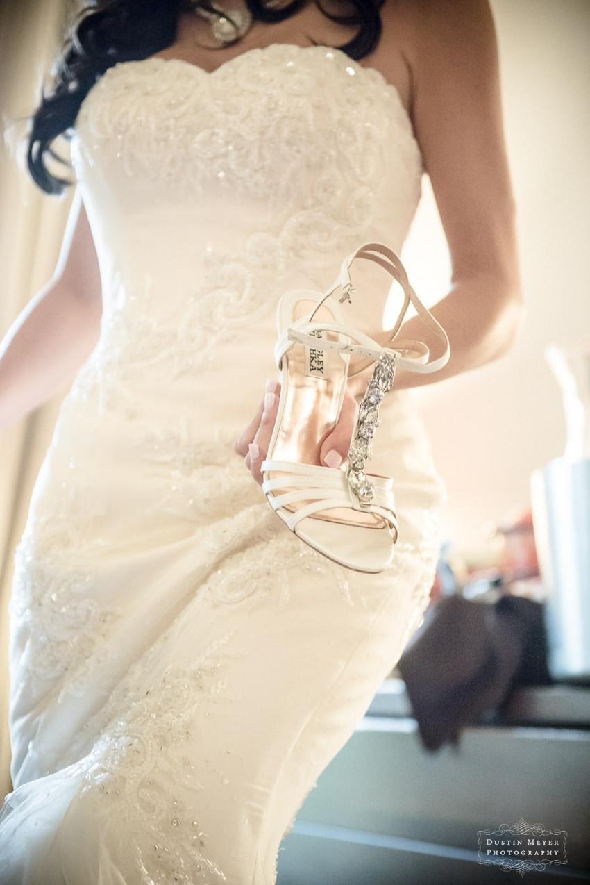 badgley mischka wedding bridal shoes and strapless lace wedding bridal gown ideas Hyatt Lost Pines Wedding