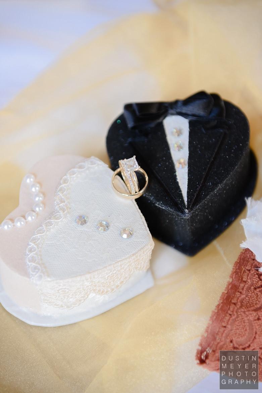 Bride and Groom Wedding Ring Boxes Driskill Hotel Wedding Austin Wedding Photographers