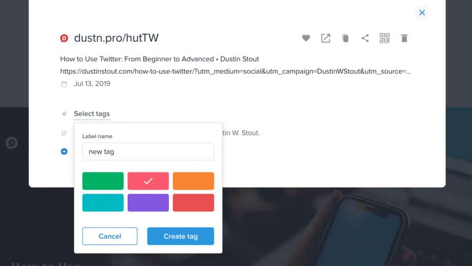 create a new tag in Rebrandly