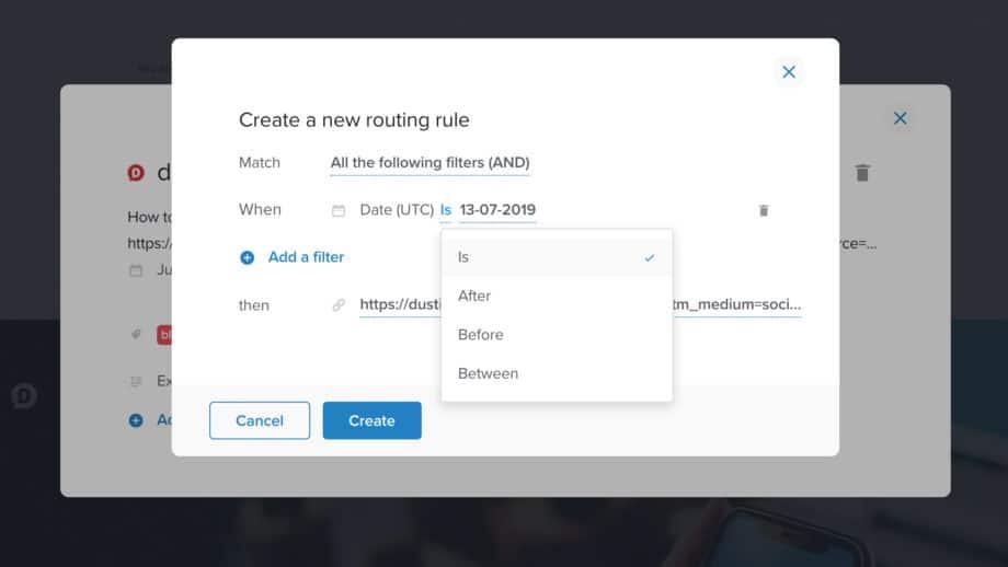 choose routing rule in rebrandly