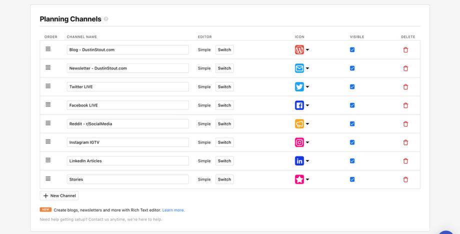 ContentCal planning channels screenshot