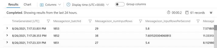 Screen shot of result for QueryProgress event parsing.