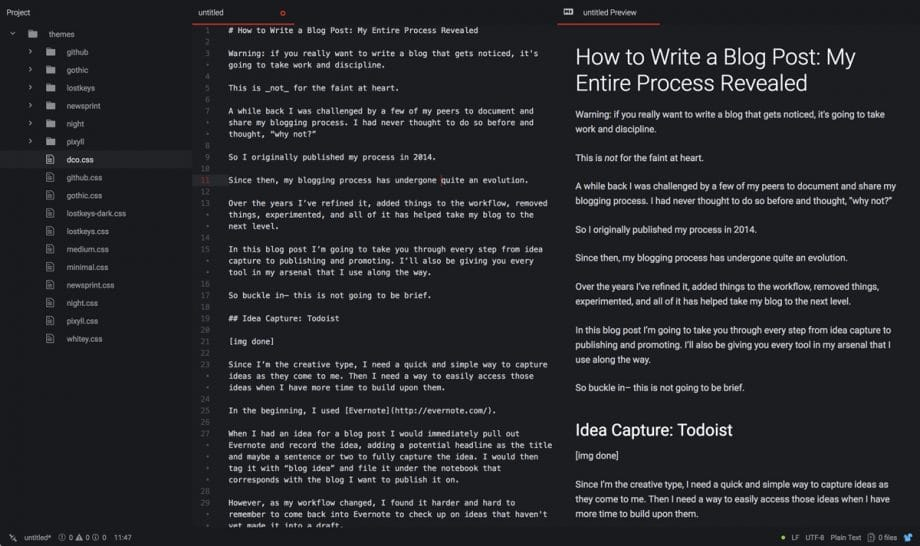 atom editor with how to write a blog post draft