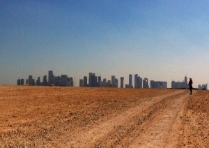 Where desert meets Doha! The skyscrapers have not quite eaten up all the open space (yet).