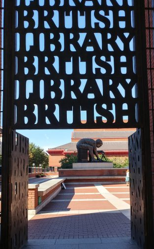 Gate at the British Library, London