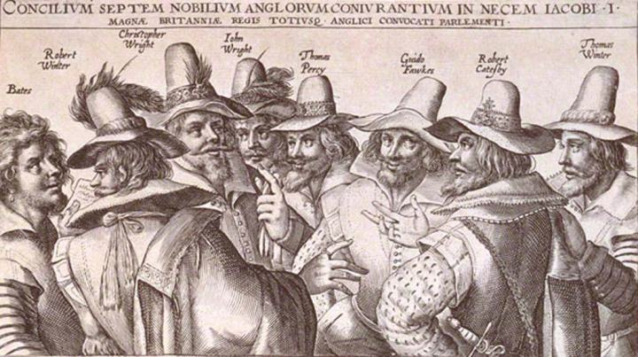 Drawing of all the Gunpowder Plotters with their names