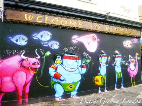 Cranio mural on restaurant Kinkao on Pedley Street in Shoreditch
